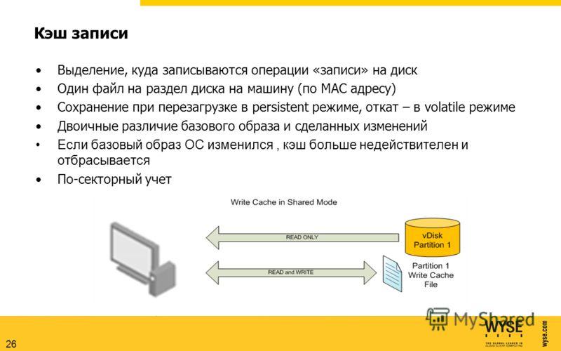 Кэш записи Выделение, куда записываются операции «записи» на диск Один файл на раздел диска на машину (по MAC адресу) Сохранение при перезагрузке в persistent режиме, откат – в volatile режиме Двоичные различие базового образа и сделанных изменений Е
