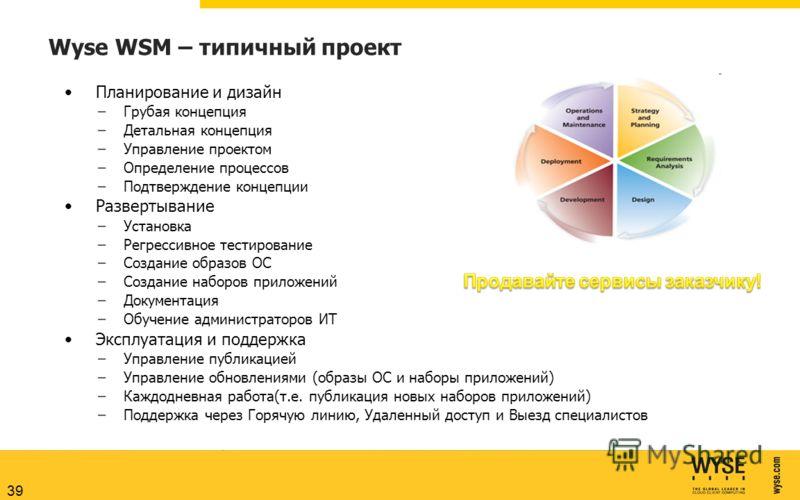Wyse WSM – типичный проект Планирование и дизайн –Грубая концепция –Детальная концепция –Управление проектом –Определение процессов –Подтверждение концепции Развертывание –Установка –Регрессивное тестирование –Создание образов ОС –Создание наборов пр