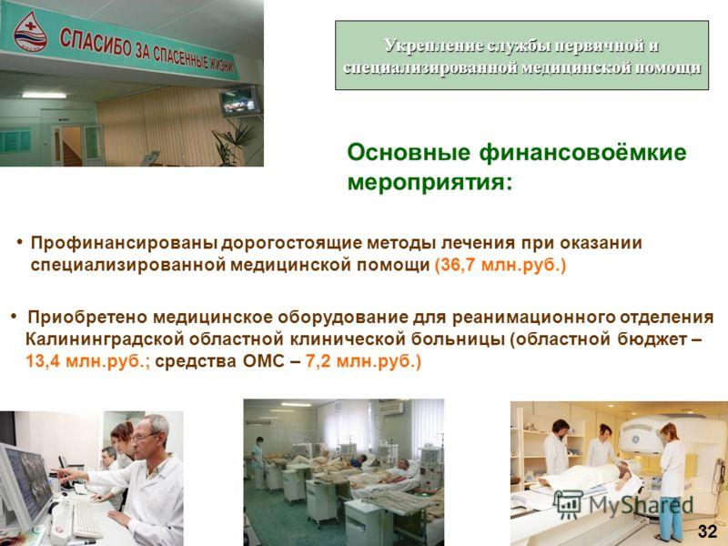 Профинансированы дорогостоящие методы лечения при оказании специализированной медицинской помощи (36,7 млн.руб.) Приобретено медицинское оборудование для реанимационного отделения Калининградской областной клинической больницы (областной бюджет – 13,