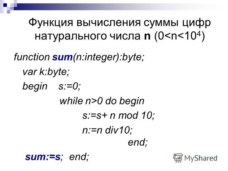 Функция вычисления суммы цифр натурального числа n (0