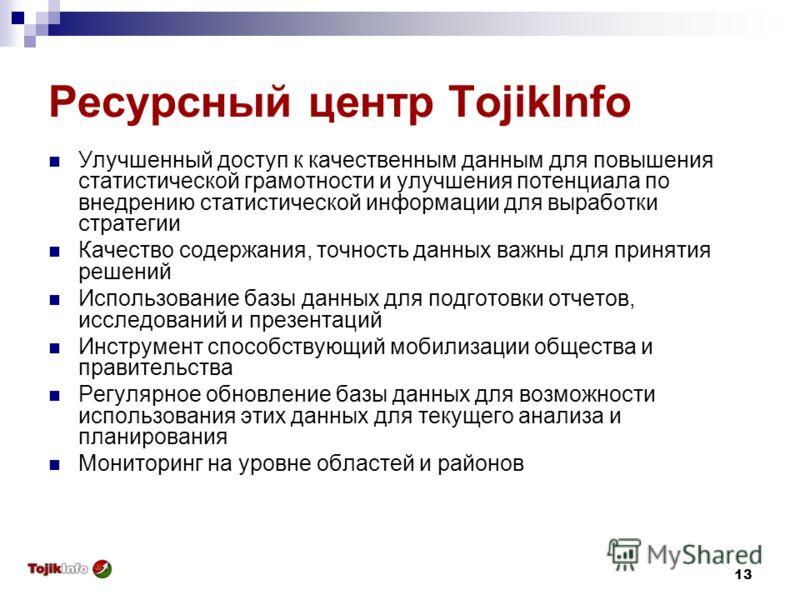13 Ресурсный центр TojikInfo Улучшенный доступ к качественным данным для повышения статистической грамотности и улучшения потенциала по внедрению статистической информации для выработки стратегии Качество содержания, точность данных важны для приняти