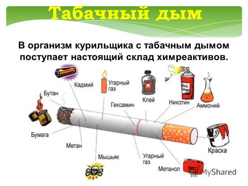 Табачный дым В организм курильщика с табачным дымом поступает настоящий склад химреактивов.