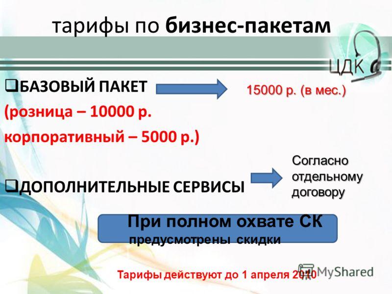 тарифы по бизнес-пакетам БАЗОВЫЙ ПАКЕТ (розница – 10000 р. корпоративный – 5000 р.) ДОПОЛНИТЕЛЬНЫЕ СЕРВИСЫ 15000 р. (в мес.) Согласно отдельному договору При полном охвате СК предусмотрены скидки Тарифы действуют до 1 апреля 2010
