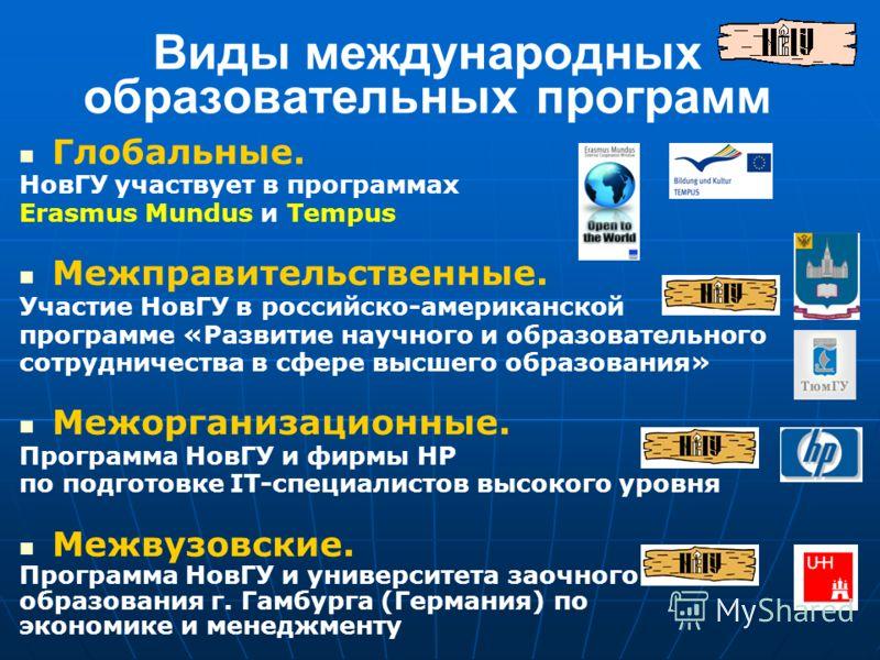 Виды международных образовательных программ Глобальные. НовГУ участвует в программах Erasmus Mundus и Tempus Межправительственные. Участие НовГУ в российско-американской программе «Развитие научного и образовательного сотрудничества в сфере высшего о
