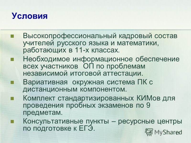 15 Условия Высокопрофессиональный кадровый состав учителей русского языка и математики, работающих в 11-х классах. Необходимое информационное обеспечение всех участников ОП по проблемам независимой итоговой аттестации. Вариативная окружная система ПК