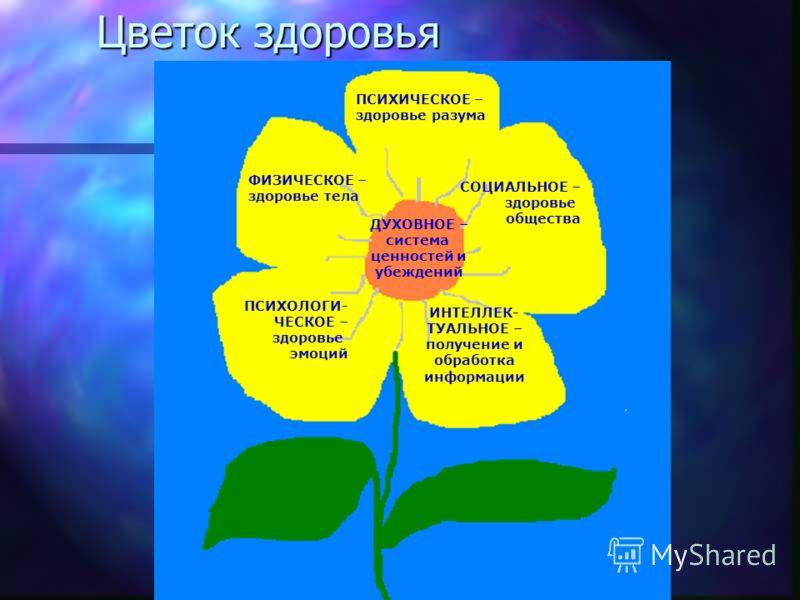 Цветок здоровья ПСИХИЧЕСКОЕ – здоровье разума ФИЗИЧЕСКОЕ – здоровье тела СОЦИАЛЬНОЕ – здоровье общества ПСИХОЛОГИ- ЧЕСКОЕ – здоровье эмоций ИНТЕЛЛЕК- ТУАЛЬНОЕ – получение и обработка информации ДУХОВНОЕ – система ценностей и убеждений