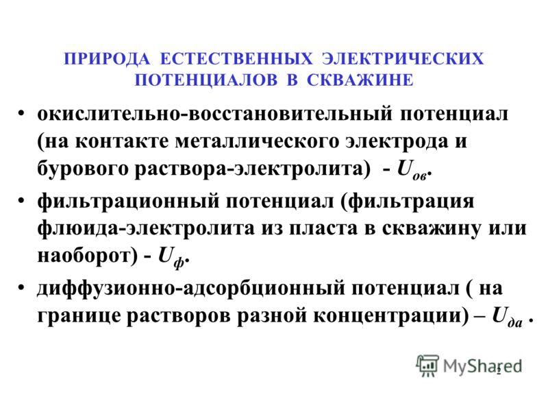 ПРИРОДА ЕСТЕСТВЕННЫХ ЭЛЕКТРИЧЕСКИХ ПОТЕНЦИАЛОВ В СКВАЖИНЕ окислительно-восстановительный потенциал (на контакте металлического электрода и бурового раствора-электролита) - U ов. фильтрационный потенциал (фильтрация флюида-электролита из пласта в сква