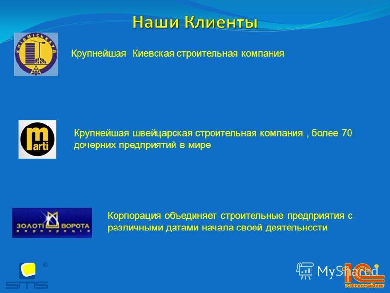 Корпорация объединяет строительные предприятия с различными датами начала своей деятельности Крупнейшая швейцарская строительная компания, более 70 дочерних предприятий в мире Крупнейшая Киевская строительная компания