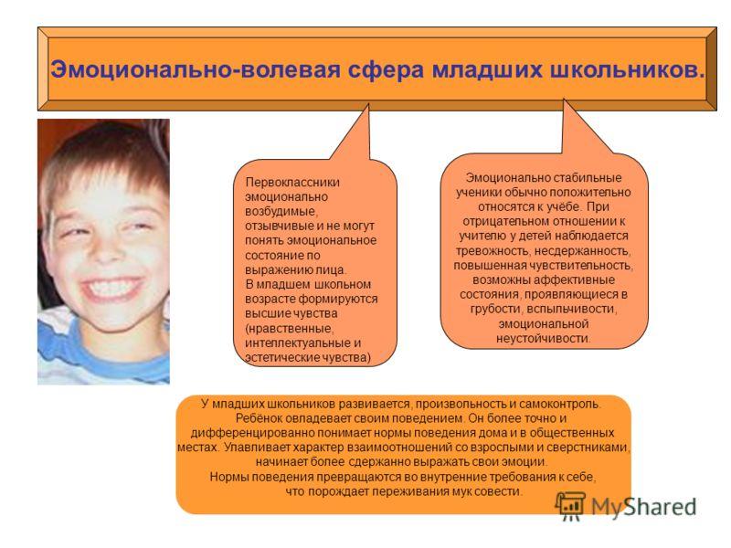 Эмоционально-волевая сфера младших школьников. Первоклассникиэмоциональновозбудимые,отзывчивые и не могутпонять эмоциональноесостояние повыражению лица.В младшем школьномвозрасте формируютсявысшие чувства(нравственные,интеллектуальные иэстетические ч