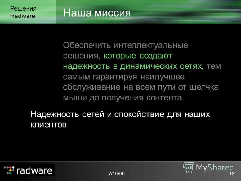 7/16/0012 Наша миссия Решения Radware Обеспечить интеллектуальные решения, которые создают надежность в динамических сетях, тем самым гарантируя наилучшее обслуживание на всем пути от щелчка мыши до получения контента. Надежность сетей и спокойствие