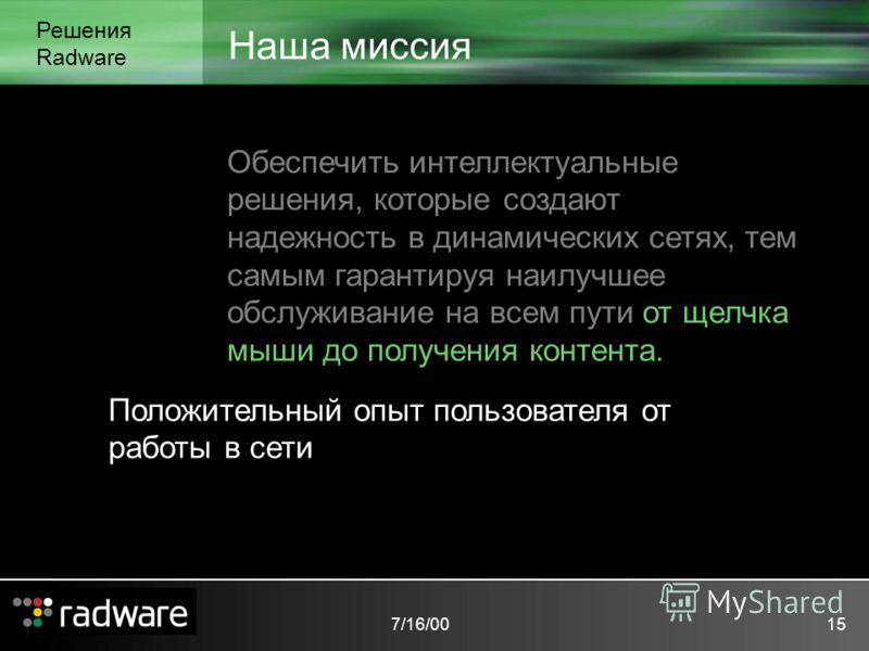 7/16/0015 Наша миссия Решения Radware Обеспечить интеллектуальные решения, которые создают надежность в динамических сетях, тем самым гарантируя наилучшее обслуживание на всем пути от щелчка мыши до получения контента. Положительный опыт пользователя