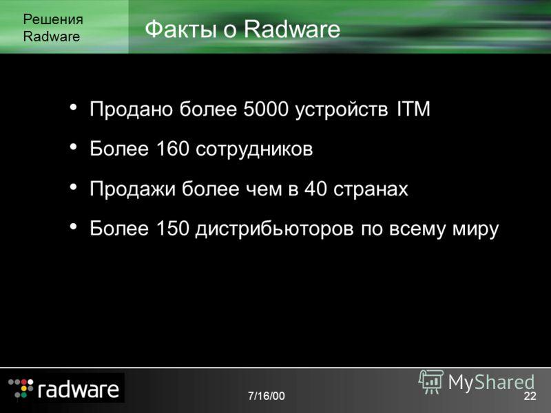 7/16/0022 Факты о Radware Решения Radware Продано более 5000 устройств ITM Более 160 сотрудников Продажи более чем в 40 странах Более 150 дистрибьюторов по всему миру