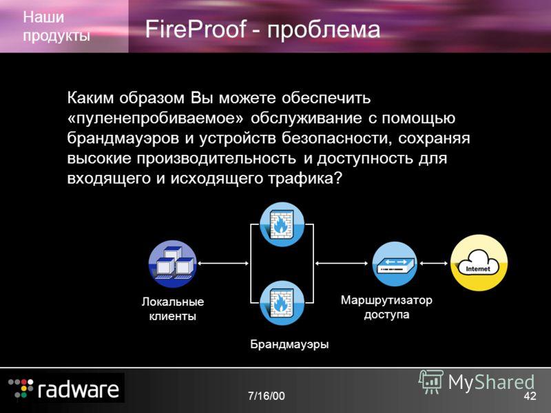 7/16/0042 FireProof - проблема Наши продукты Каким образом Вы можете обеспечить «пуленепробиваемое» обслуживание с помощью брандмауэров и устройств безопасности, сохраняя высокие производительность и доступность для входящего и исходящего трафика? Ло