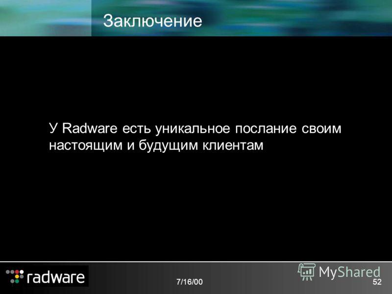 7/16/0052 Заключение У Radware есть уникальное послание своим настоящим и будущим клиентам