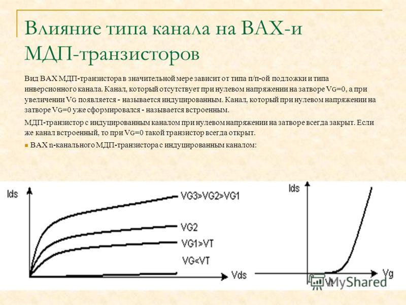 Влияние типа канала на ВАХ-и МДП-транзисторов Вид ВАХ МДП-транзистора в значительной мере зависит от типа п/п-ой подложки и типа инверсионного канала. Канал, который отсутствует при нулевом напряжении на затворе V G =0, а при увеличении V G появляетс