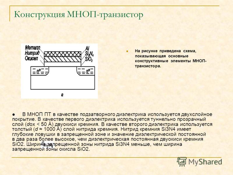 Конструкция МНОП-транзистор На рисунке приведена схема, показывающая основные конструктивные элементы МНОП- транзистора. В МНОП ПТ в качестве подзатворного диэлектрика используется двухслойное покрытие. В качестве первого диэлектрика используется тун