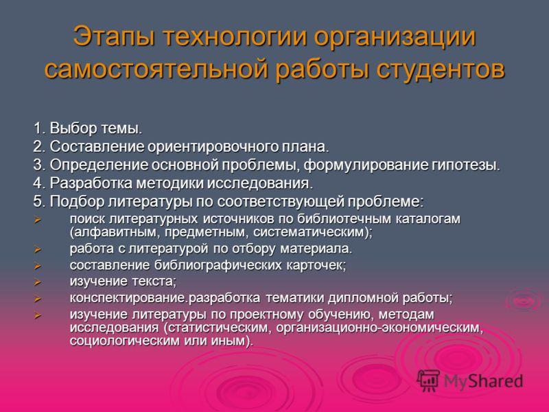 Презентация на тему Выполнение курсовой работы по дисциплине  7 Этапы технологии организации самостоятельной работы