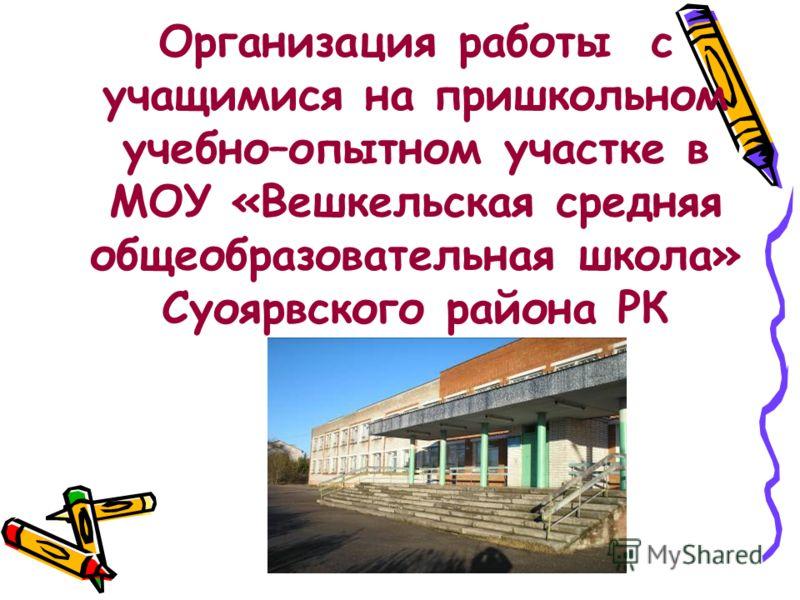 Организация работы с учащимися на пришкольном учебно–опытном участке в МОУ «Вешкельская средняя общеобразовательная школа» Суоярвского района РК