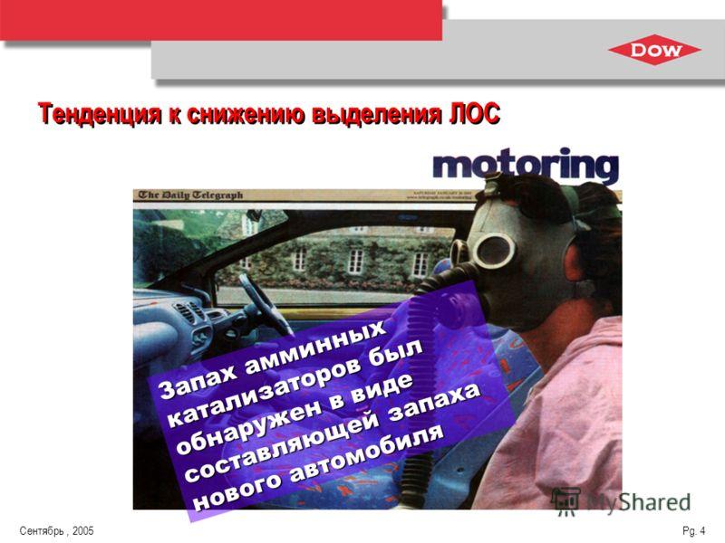 Сентябрь, 2005 Pg. 4 Тенденция к снижению выделения ЛОС Запах амминных катализаторов был обнаружен в виде составляющей запаха нового автомобиля