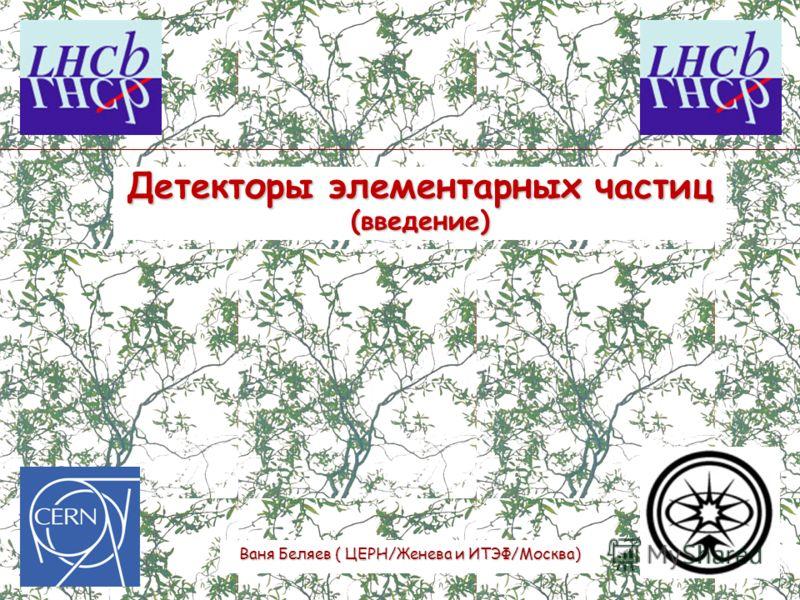 Детекторы элементарных частиц (введение) Ваня Беляев ( ЦЕРН/Женева и ИТЭФ/Москва)