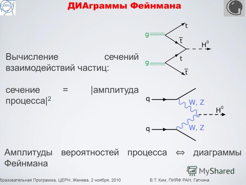 Образовательная Программа, ЦЕРН, Женева, 2 ноября, 2010 В.Т. Ким, ПИЯФ РАН, Гатчина 14 ДИАграммы Фейнмана Вычисление сечений взаимодействий частиц: сечение = |амплитуда процесса| 2 Амплитуды вероятностей процесса диаграммы Фейнмана