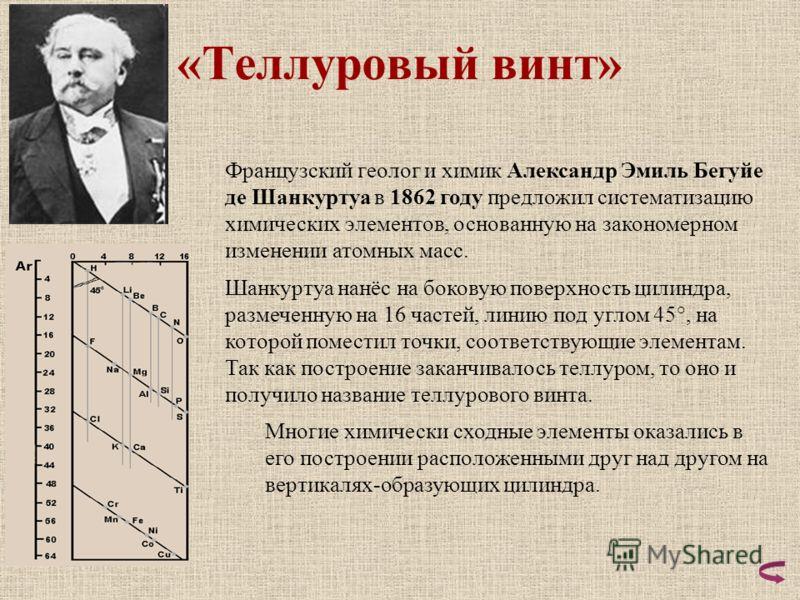 «Теллуровый винт» Французский геолог и химик Александр Эмиль Бегуйе де Шанкуртуа в 1862 году предложил систематизацию химических элементов, основанную на закономерном изменении атомных масс. Шанкуртуа нанёс на боковую поверхность цилиндра, размеченну