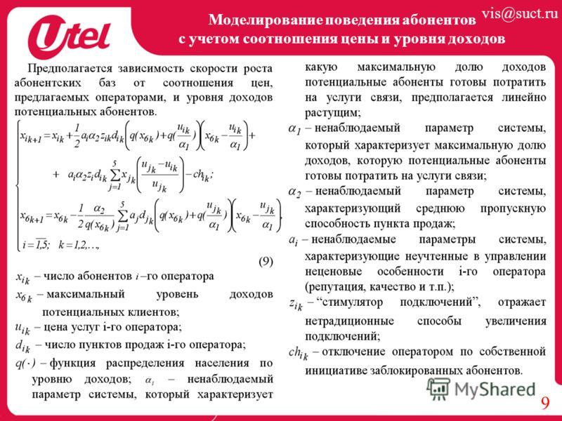 Моделирование поведения абонентов с учетом соотношения цены и уровня доходов 9 vis@suct.ru