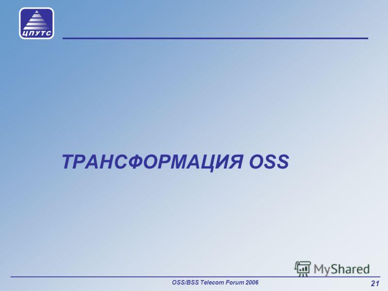 OSS/BSS Telecom Forum 2006 21 ТРАНСФОРМАЦИЯ OSS