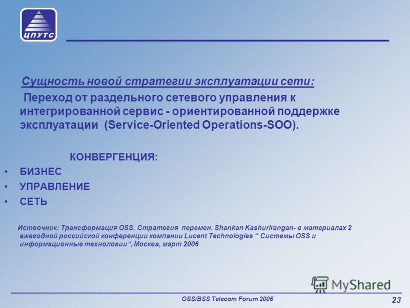 OSS/BSS Telecom Forum 2006 23 Сущность новой стратегии эксплуатации сети: Переход от раздельного сетевого управления к интегрированной сервис - ориентированной поддержке эксплуатации (Service-Oriented Operations-SOO). КОНВЕРГЕНЦИЯ: БИЗНЕС УПРАВЛЕНИЕ