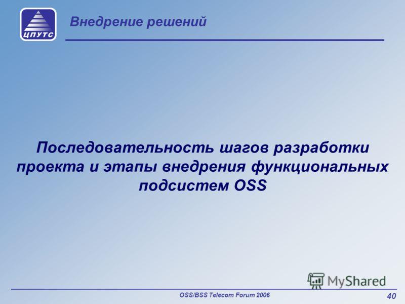 OSS/BSS Telecom Forum 2006 40 Внедрение решений Последовательность шагов разработки проекта и этапы внедрения функциональных подсистем OSS
