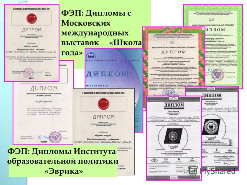 ФЭП: Дипломы с Московских международных выставок «Школа года» ФЭП: Дипломы Института образовательной политики «Эврика»