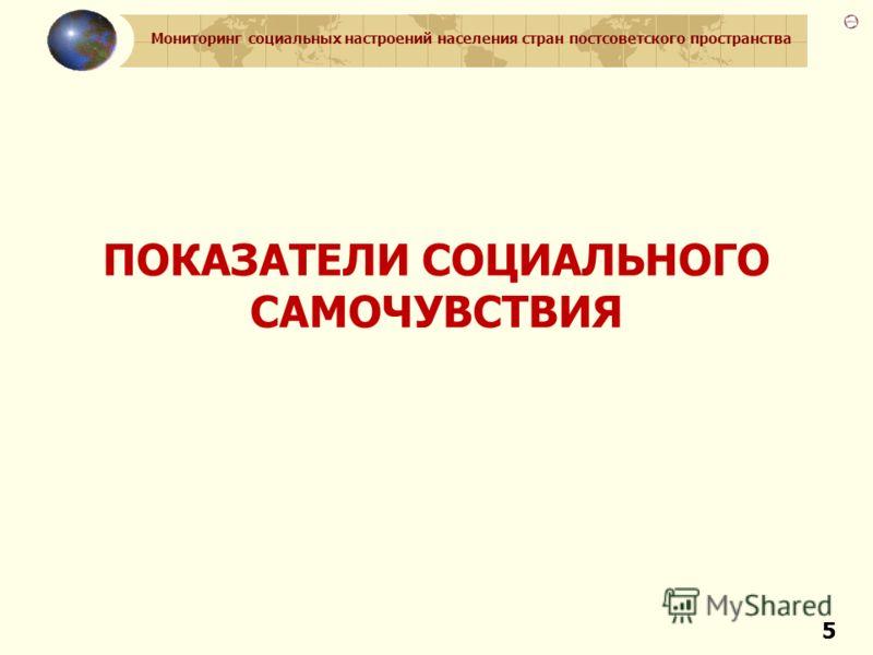 Мониторинг социальных настроений населения стран постсоветского пространства 55 ПОКАЗАТЕЛИ СОЦИАЛЬНОГО САМОЧУВСТВИЯ