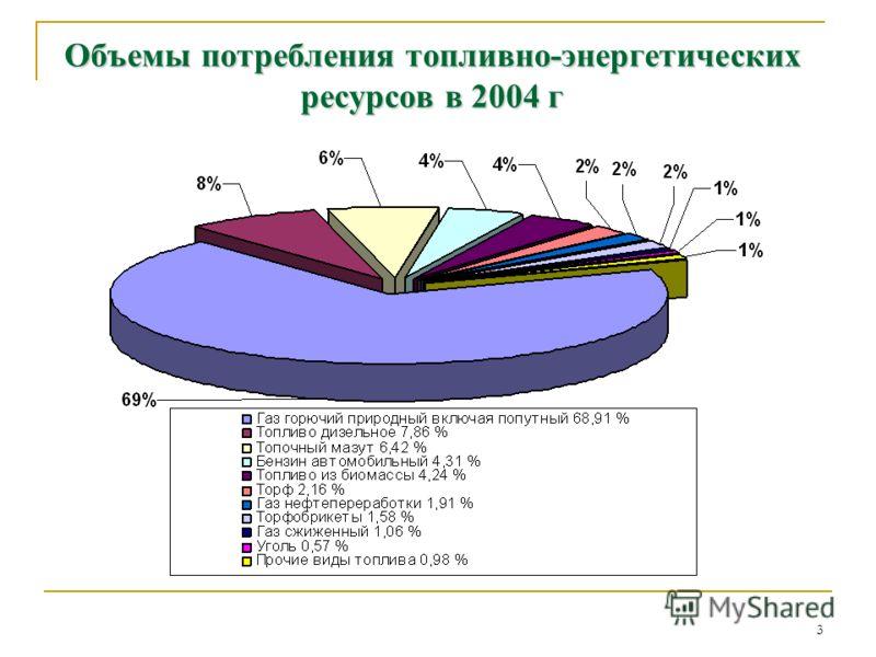 3 Объемы потребления топливно-энергетических ресурсов в 2004 г