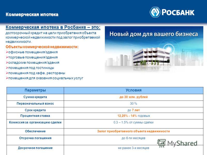 Коммерческая ипотека в Росбанке – это: долгосрочный кредит на цели приобретения объекта коммерческой недвижимости под залог приобретаемой недвижимости. Объекты коммерческой недвижимости: офисные помещения/здания торговые помещения/здания складские по