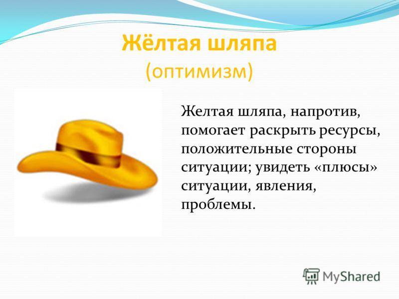 Жёлтая шляпа (оптимизм) Желтая шляпа, напротив, помогает раскрыть ресурсы, положительные стороны ситуации; увидеть «плюсы» ситуации, явления, проблемы.