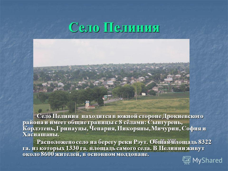 Добро Пожаловать Пелиния – самое большое село Севера Молдовы. После последней Териториально- Административной Реформы вошло в состав Дрокиевского района.