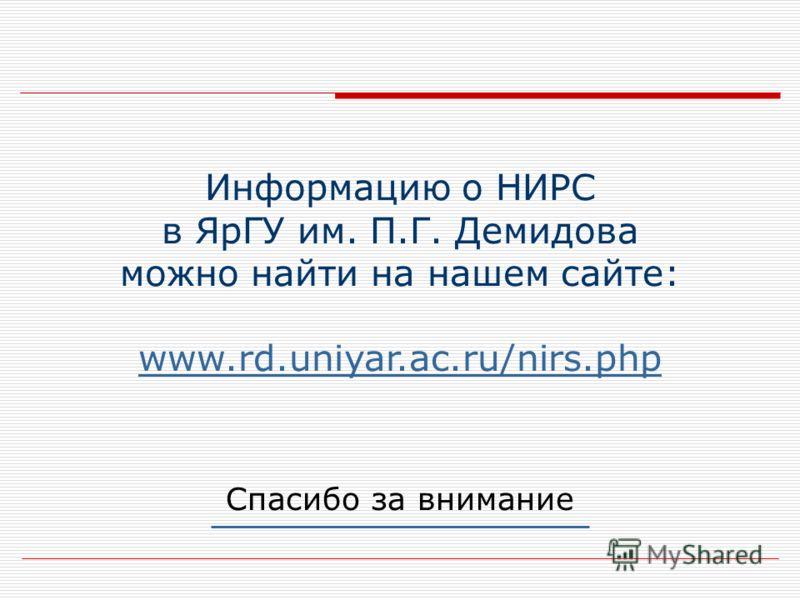 Спасибо за внимание Информацию о НИРС в ЯрГУ им. П.Г. Демидова можно найти на нашем сайте: www.rd.uniyar.ac.ru/nirs.php www.rd.uniyar.ac.ru/nirs.php