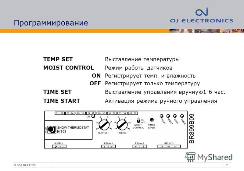 FLOOR HEATING7 Программирование TEMP SETВыставление температуры MOIST CONTROL ON OFF Режим работы датчиков Регистрирует темп. и влажность Регистрирует только температуру TIME SETВыставление управления вручную1-6 час. TIME STARTАктивация режима ручног