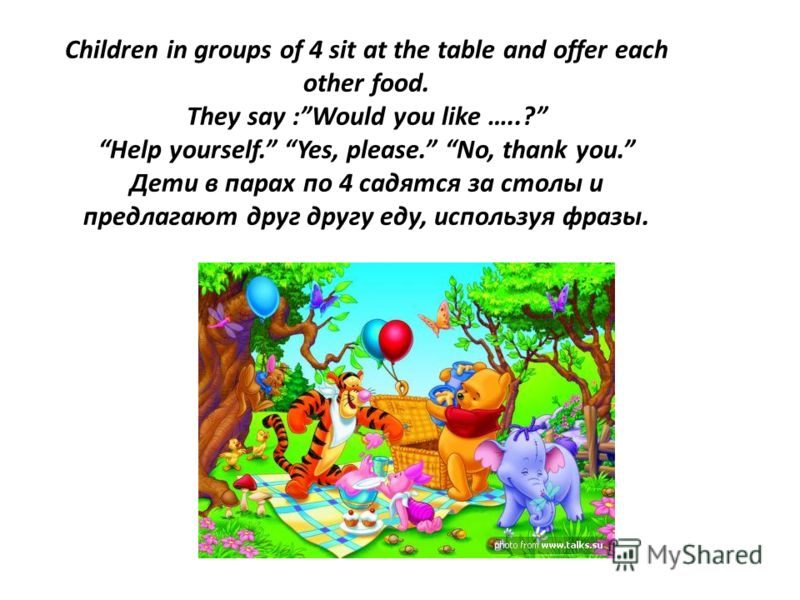 Children in groups of 4 sit at the table and offer each other food. They say :Would you like …..? Help yourself. Yes, please. No, thank you. Дети в парах по 4 садятся за столы и предлагают друг другу еду, используя фразы.