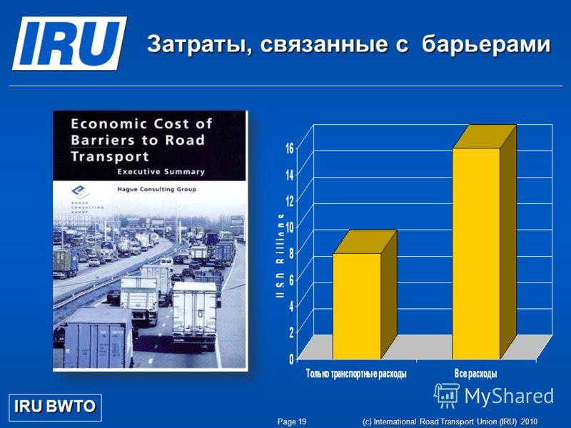 Page 19 (c) International Road Transport Union (IRU) 2010 Затраты, связанные с барьерами IRU BWTO