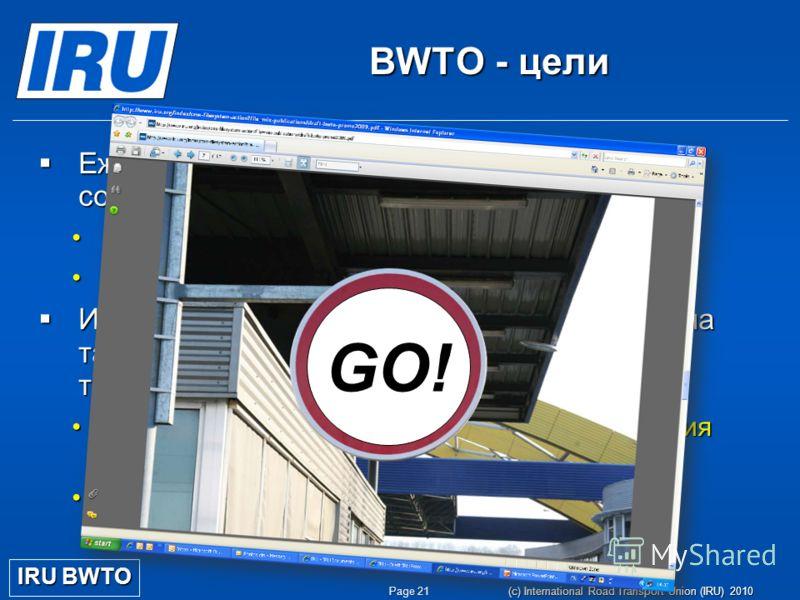 Page 21 (c) International Road Transport Union (IRU) 2010 BWTO - цели Ежедневное оперативное обеспечение для сокращения потери времени Ежедневное оперативное обеспечение для сокращения потери времени Планирование маршрутаПланирование маршрута Изменен
