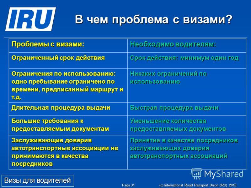 Page 31 (c) International Road Transport Union (IRU) 2010 Проблемы с визами: Необходимо водителям: Ограниченный срок действия Срок действия: минимум один год Ограничения по использованию: одно пребывание ограничено по времени, предписанный маршрут и