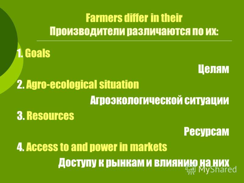 Farmers differ in their Производители различаются по их: 1. Goals Целям 2. Agro-ecological situation Агроэкологической ситуации 3. Resources Ресурсам 4. Access to and power in markets Доступу к рынкам и влиянию на них