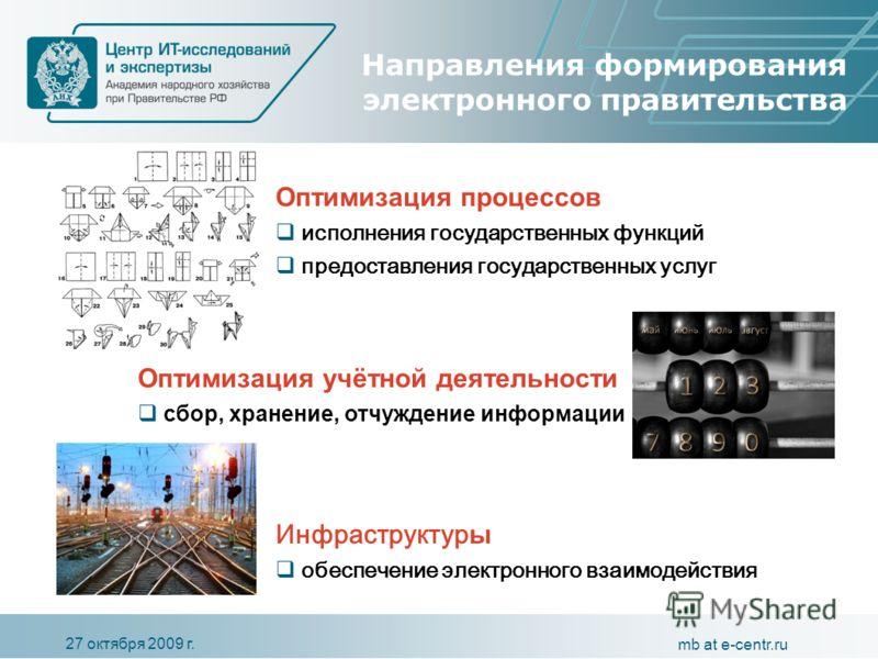 27 октября 2009 г. mb at e-centr.ru Направления формирования электронного правительства Инфраструктур ы обеспечение электронного взаимодействия Оптимизация процессов исполнения государственных функций предоставления государственных услуг Оптимизация