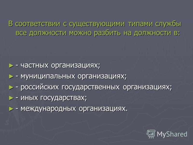 В соответствии с существующими типами службы все должности можно разбить на должности в: - частных организациях; - частных организациях; - муниципальных организациях; - муниципальных организациях; - российских государственных организациях; - российск