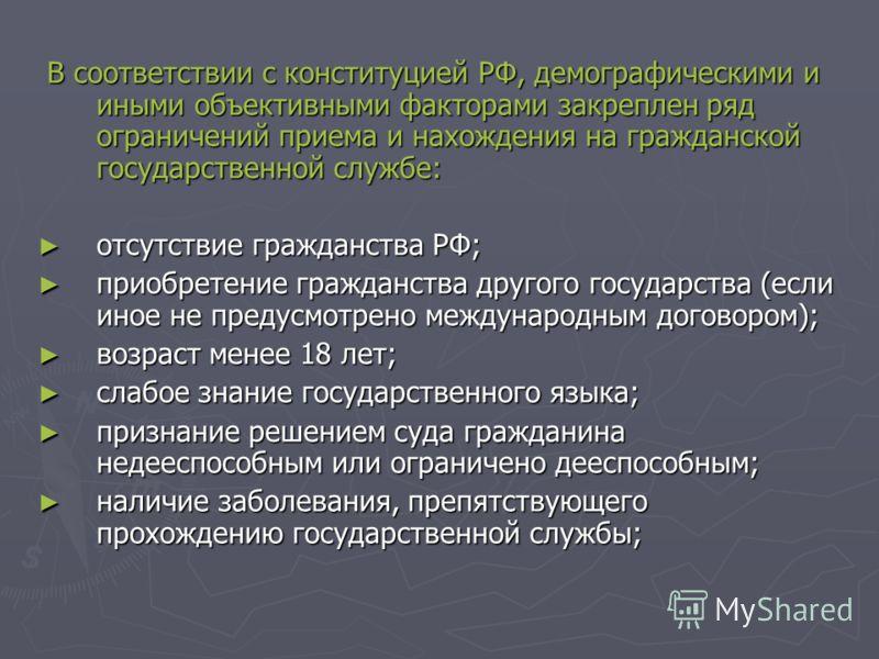 В соответствии с конституцией РФ, демографическими и иными объективными факторами закреплен ряд ограничений приема и нахождения на гражданской государственной службе: В соответствии с конституцией РФ, демографическими и иными объективными факторами з