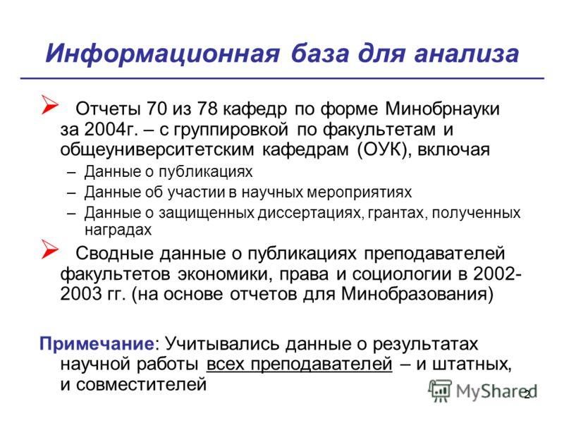 2 Информационная база для анализа Отчеты 70 из 78 кафедр по форме Минобрнауки за 2004г. – с группировкой по факультетам и общеуниверситетским кафедрам (ОУК), включая –Данные о публикациях –Данные об участии в научных мероприятиях –Данные о защищенных