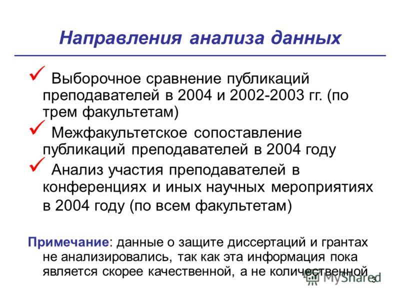3 Направления анализа данных Выборочное сравнение публикаций преподавателей в 2004 и 2002-2003 гг. (по трем факультетам) Межфакультетское сопоставление публикаций преподавателей в 2004 году Анализ участия преподавателей в конференциях и иных научных
