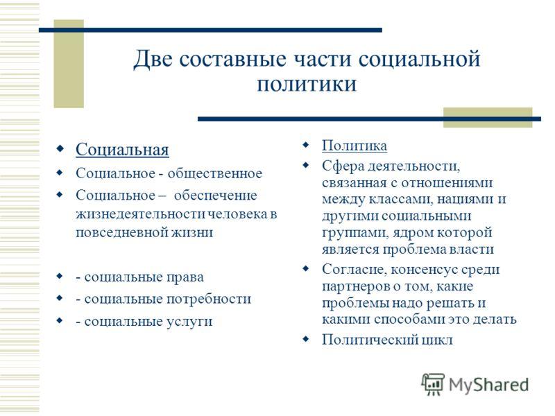Две составные части социальной политики Социальная Социальное - общественное Социальное – обеспечение жизнедеятельности человека в повседневной жизни - социальные права - социальные потребности - социальные услуги Политика Сфера деятельности, связанн