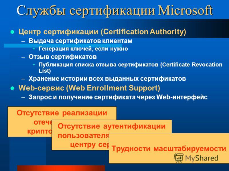 Службы сертификации Microsoft Центр сертификации (Certification Authority) –Выдача сертификатов клиентам Генерация ключей, если нужно –Отзыв сертификатов Публикация списка отзыва сертификатов (Certificate Revocation List) –Хранение истории всех выдан